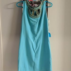 Lilly Pulitzer Aqua Blue Lane Beaded Dress